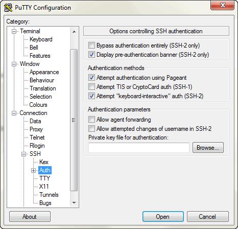 Добавление файла ключей в putty